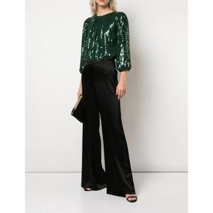 Alice + Olivia black satin wide leg pants 4